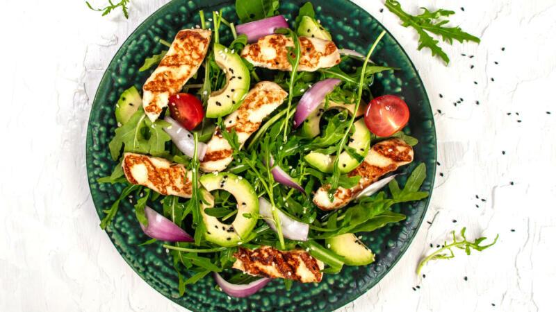 Изображение рецепта Новогодний салат с апельсином и халуми