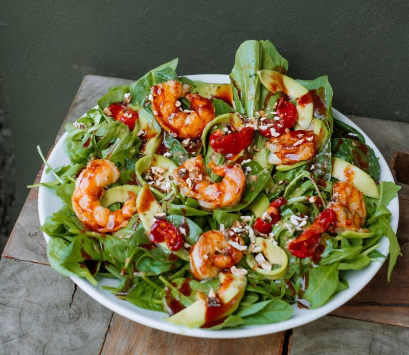 Изображение рецепта Зелёный салат с креветками и авокадо