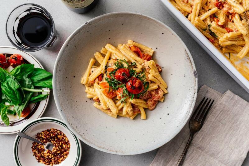 Изображение рецепта Паста с сыром фета и помидорами черри
