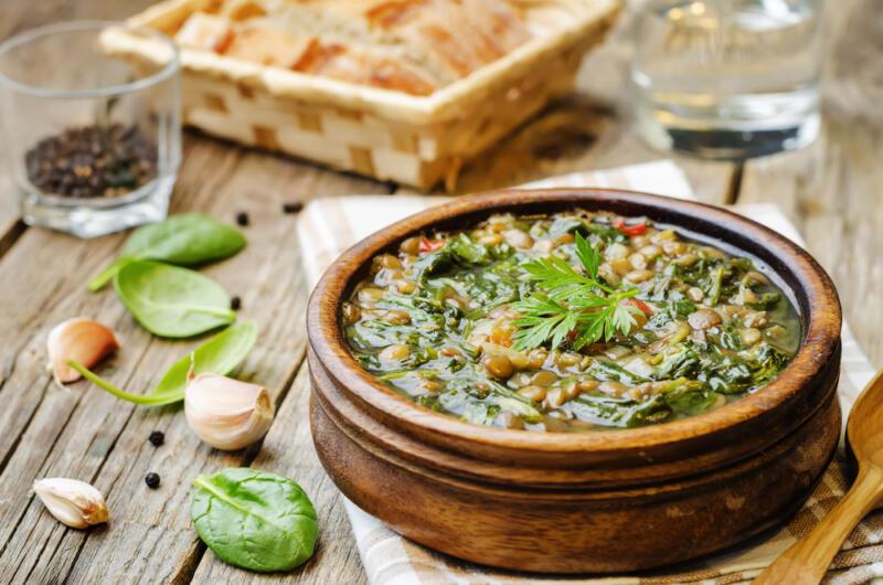Изображение рецепта Сливочный суп с курицей и шпинатом